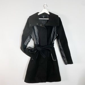 H&M Long Black Trench Coat Tie Waist leather patch